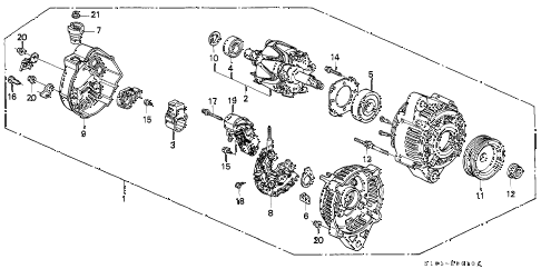 1999 cr-v EX 5 DOOR 4AT ALTERNATOR (DENSO) diagram