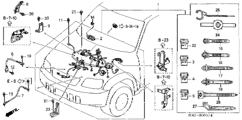 2001 cr-v SE 5 DOOR 4AT ENGINE WIRE HARNESS diagram