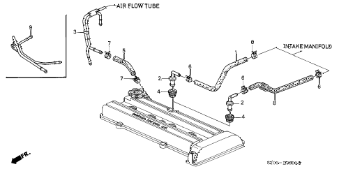 1998 cr-v LX(4WD) 5 DOOR 4AT BREATHER TUBE diagram