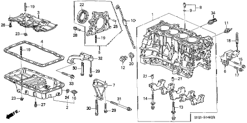 1999 cr-v LX(2WD) 5 DOOR 4AT CYLINDER BLOCK - OIL PAN diagram