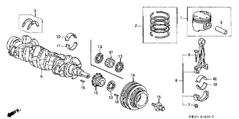 2001 cr-v LX(2WD) 5 DOOR 4AT CRANKSHAFT - PISTON diagram
