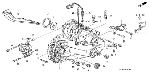 2000 cr-v LX(4WD) 5 DOOR 5MT MT TRANSMISSION HOUSING diagram