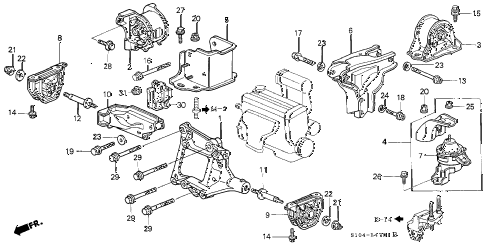 1999 cr-v LX(4WD) 5 DOOR 5MT ENGINE MOUNTS (MT) diagram