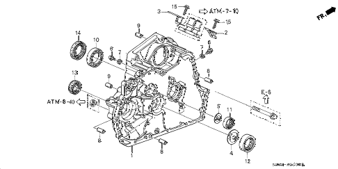 2000 prelude BASE 2 DOOR 4AT AT TORQUE CONVERTER HOUSING diagram
