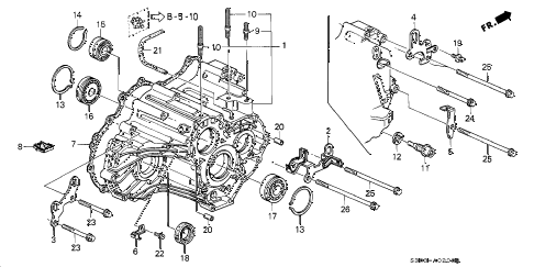 2000 prelude BASE 2 DOOR 4AT AT TRANSMISSION HOUSING diagram