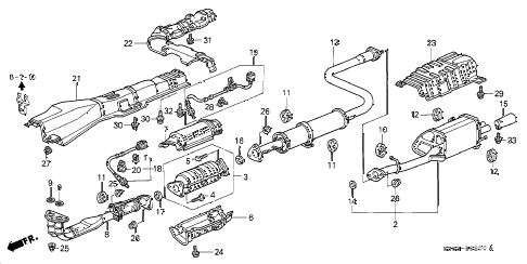 1997 prelude BASE 2 DOOR 5MT EXHAUST PIPE (1) diagram
