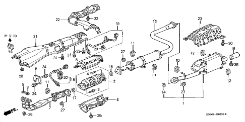 1997 prelude TYPESH 2 DOOR 5MT EXHAUST PIPE (2) diagram