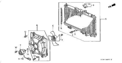 1999 prelude BASE 2 DOOR 5MT RADIATOR (TOYO) diagram