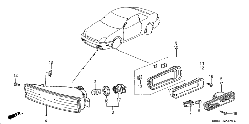 1998 prelude TYPESH 2 DOOR 5MT COMBINATION LIGHT diagram