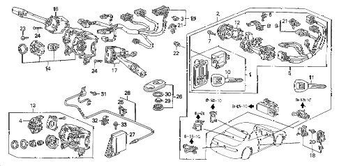 1998 prelude TYPESH 2 DOOR 5MT COMBINATION SWITCH diagram