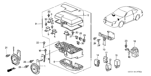 2001 prelude TYPESH 2 DOOR 5MT CONTROL UNIT - ENGINE ROOM diagram