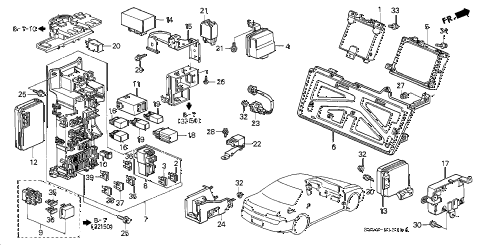 2001 prelude BASE 2 DOOR 4AT CONTROL UNIT - CABIN diagram