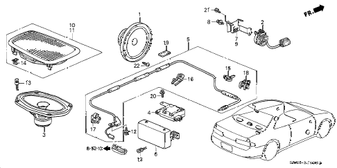 1998 prelude TYPESH 2 DOOR 5MT RADIO ANTENNA - SPEAKER diagram