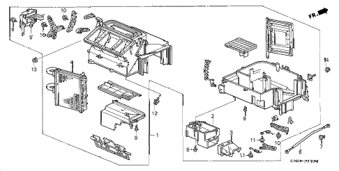 1999 prelude TYPESH 2 DOOR 5MT HEATER UNIT diagram