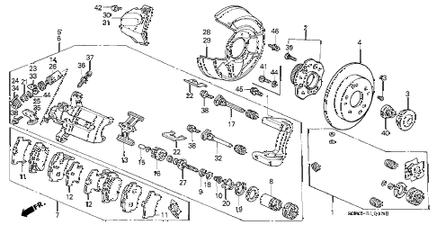 2001 prelude BASE 2 DOOR 4AT REAR BRAKE diagram