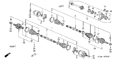 1997 prelude BASE 2 DOOR 5MT DRIVESHAFT - HALF SHAFT (1) diagram