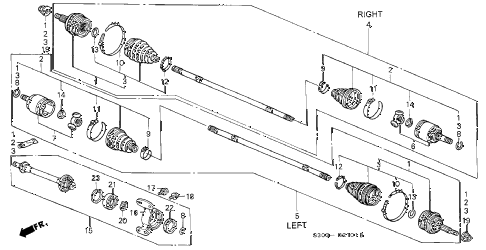 1999 prelude TYPESH 2 DOOR 5MT DRIVESHAFT - HALF SHAFT (2) diagram