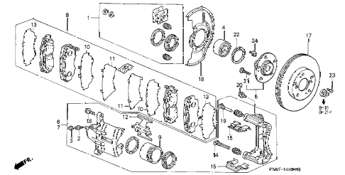 1999 prelude BASE 2 DOOR 5MT FRONT BRAKE diagram