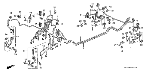 1997 prelude TYPESH 2 DOOR 5MT BRAKE LINES (ABS) diagram