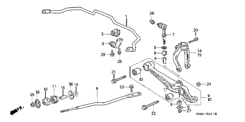 2000 prelude BASE 2 DOOR 5MT FRONT LOWER ARM (1) diagram