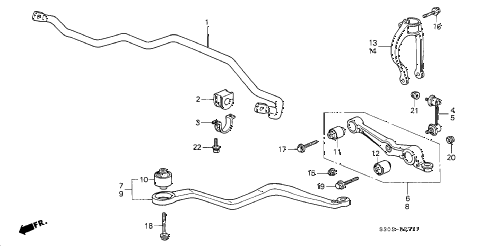 1998 prelude TYPESH 2 DOOR 5MT FRONT LOWER ARM (2) diagram