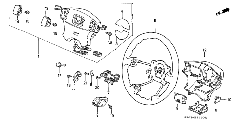 2000 prelude BASE 2 DOOR 4AT STEERING WHEEL (SRS) diagram