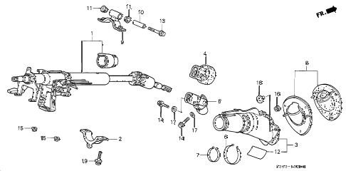 1998 prelude BASE 2 DOOR 5MT STEERING COLUMN diagram