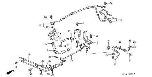 1997 prelude TYPESH 2 DOOR 5MT P.S. HOSES - PIPES diagram