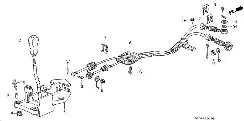 1997 prelude TYPESH 2 DOOR 5MT SHIFT LEVER diagram