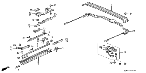 1997 prelude TYPESH 2 DOOR 5MT SLIDING ROOF COMPONENTS diagram