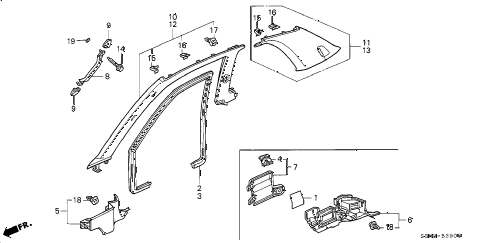 2000 prelude BASE 2 DOOR 5MT PILLAR GARNISH diagram