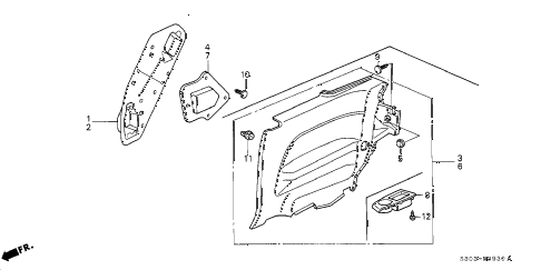 1998 prelude TYPESH 2 DOOR 5MT SIDE LINING diagram