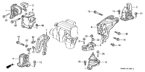 2001 prelude BASE 2 DOOR 4AT AT ENGINE MOUNT diagram