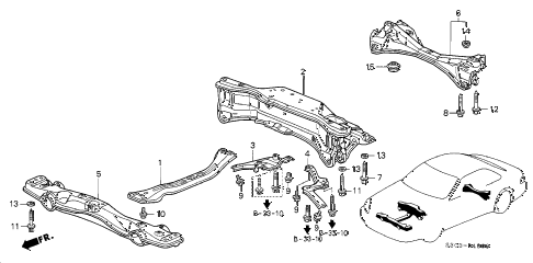 2001 prelude TYPESH 2 DOOR 5MT CROSS BEAM diagram