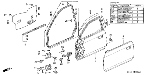2000 prelude TYPESH 2 DOOR 5MT DOOR PANEL diagram