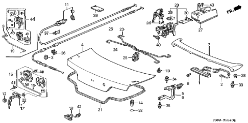 2001 prelude BASE 2 DOOR 4AT TRUNK LID diagram