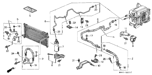 2000 prelude BASE 2 DOOR 4AT A/C HOSES - PIPES diagram