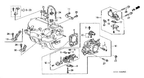 1999 prelude TYPESH 2 DOOR 5MT THROTTLE BODY diagram