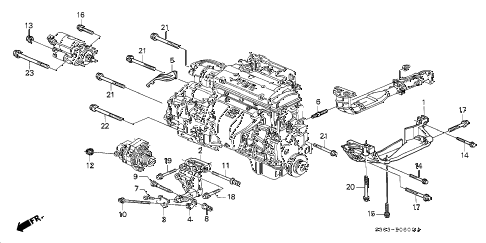 1998 prelude BASE 2 DOOR 5MT ALTERNATOR BRACKET diagram