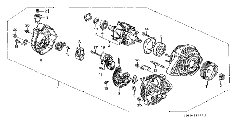 1997 prelude TYPESH 2 DOOR 5MT ALTERNATOR (DENSO) diagram