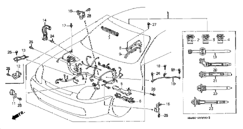 1997 prelude TYPESH 2 DOOR 5MT ENGINE WIRE HARNESS diagram