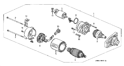 2000 prelude BASE 2 DOOR 5MT STARTER MOTOR (MITSUBA) diagram