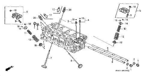 1998 prelude TYPESH 2 DOOR 5MT VALVE - ROCKER ARM diagram