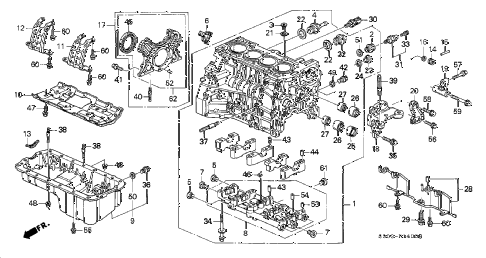 2000 prelude TYPESH 2 DOOR 5MT CYLINDER BLOCK - OIL PAN diagram