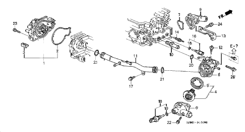2001 prelude BASE 2 DOOR 4AT WATER PUMP - SENSOR diagram
