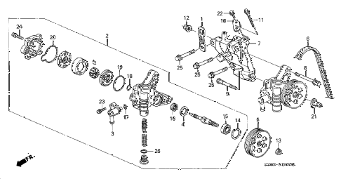 1998 prelude BASE 2 DOOR 5MT P.S. PUMP diagram