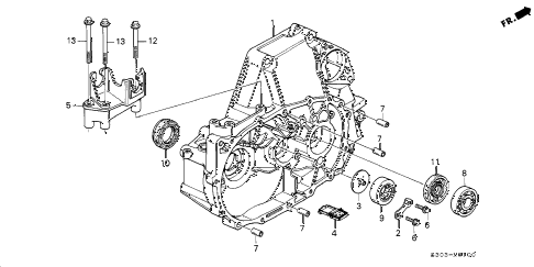 2000 prelude BASE 2 DOOR 5MT MT CLUTCH HOUSING diagram