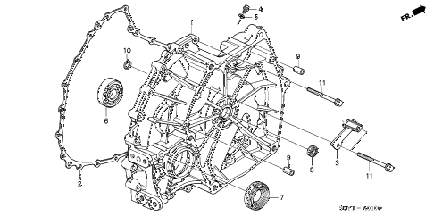 2002 insight DX 3 DOOR CVT FLYWHEEL CASE diagram