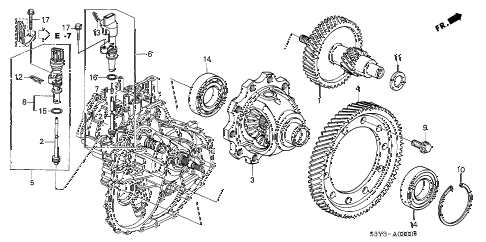 2001 insight DX 3 DOOR CVT DIFFERENTIAL GEAR  - SPEEDOMETER GEAR diagram