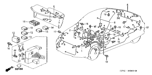 2003 insight DX(A/C) 3 DOOR 5MT WIRE HARNESS diagram